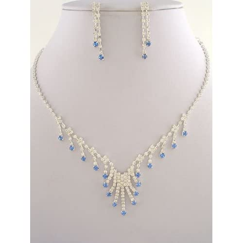 Fashion Jewelry ~ Clear and Sapphire Blue Crystals Necklace and Earrings Set
