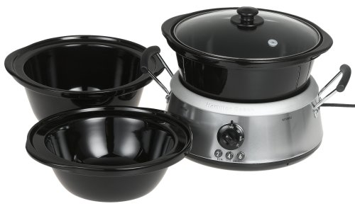 Hamilton Beach 33135 3-in-1 Slow Cooker with 2-, 4-, and 6-Quart Crocks, Stainless Steel (Crock Pot 3 In 1 compare prices)