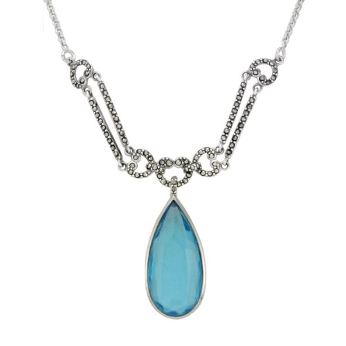 Sterling Silver Marcasite Blue Color Glass Frontal Necklace, 16