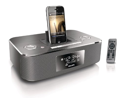 Philips Dc290B/37 30-Pin Ipod/Iphone Alarm Clock Speaker Dock (Aluminum)
