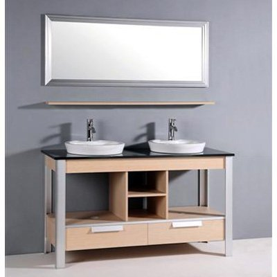 Legion Furniture Parksville 56 in. Double Bathroom Vanity Set Size - 20.5L x 55.5W x 32.5H in.