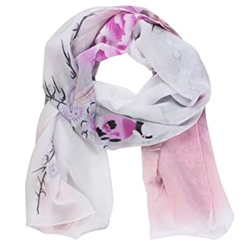 Womdee Picapica Peony Flower Print Soft Chiffon Shawl Scarf (Light Grey,Pink) With Accessory