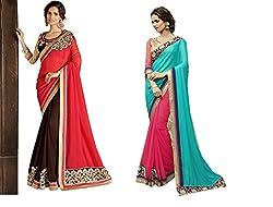 Pragya creations Women's Chiffon Saree (Prag35_Multi)-pack of 2