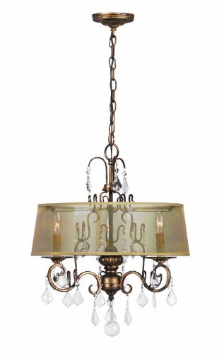 World Imports 1943-90 Belle Marie Collection 3-Light Hanging Chandelier, Antique Gold