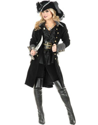 Womens Pirate Vixen Black Velvet Long Jacket Coat