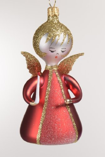 De Carlini Red Angel with Candle Italian Mouthblown Christmas Ornament