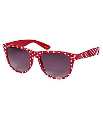 SIX Retro Sonnenbrille in klassischem Rot mit weißen Polkadots (341-633)