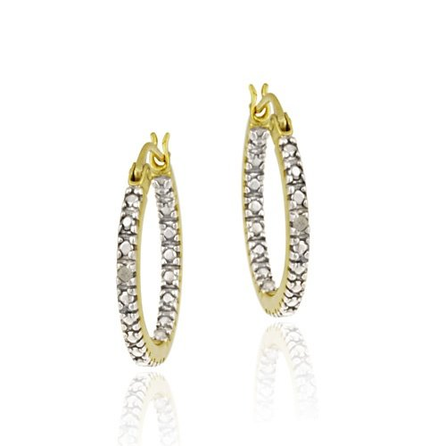 18K Gold over Sterling Silver Diamond Accent 18mm Inside Out Hoop Earrings