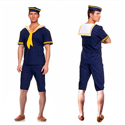 Halloween Men Sailor Seaman Cosplay Navy Captain Costume White Clothes Shirt