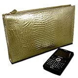 DataSafe Gold Italian Leather Embossed Lizard Clutch