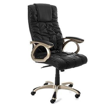 3 chaise fauteuil lbc062pu lbc062pu si ge de bureau hauteur r glable pu cuir pu cuir noir. Black Bedroom Furniture Sets. Home Design Ideas