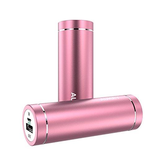 AUKEY モバイルバッテリー 5000mAh AiPower 小型 スマホ充電器 急速USB充電器 iPhone 7 / iPhone 7 Plus / iPhone6S / Samsung Galaxy S6など各種他対応 PB-N37 (ピンク) [改善版]