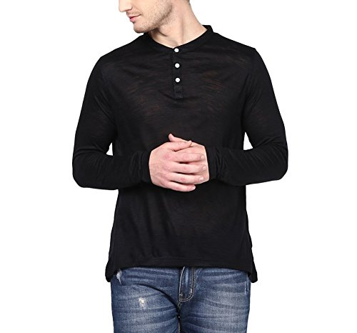 American-Crew-Mens-Henley-Full-Sleeve-Solid-T-Shirt-Black-Slub