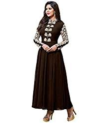 Fashion Fire Women's Brown Embroidered Georgette Unstitched Dress Material