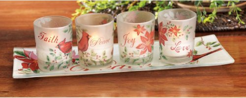 Beautiful Set Of 4 Tea-Light Candle Holders On Matching Tray, Bird & Flower Designed Glass Candle Cup Home Decor Set
