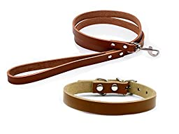 Pet Leso Puppy Collar And Leash Set Dog Cats Leather Collar With Leashes Brown S