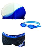 AURION Swimming Costume, Swim Goggles And Swim Cap With Free Ear Plugs(Assorted Colors)