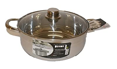 Large Stainless Steel Pot with Heat Diffuser Base 24 cm 5 Litres