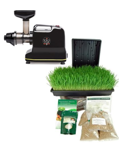 Solostar 3C Electric Multipurpose Juicer By Tribest -Bundle Includes Manual Juicer Conversion & Organic Wheatgrass Growing Kit - Solo Star Iiic Juice Machine