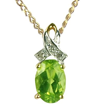 Ornami Glamour 9ct Yellow Gold Diamond Set Ribbon with Peridot Pendant on 46cm Curb Chain