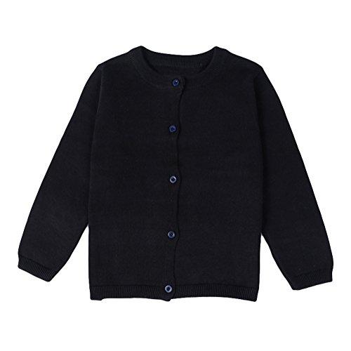 Baby Boys Girls Button-down Cardigan Toddler Cotton Knit Sweater black 90
