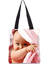 Snoogg Baby On Towel Designer Poly Canvas Fashion Printed Shopping Shoulder Lunch Tote Bag For Women