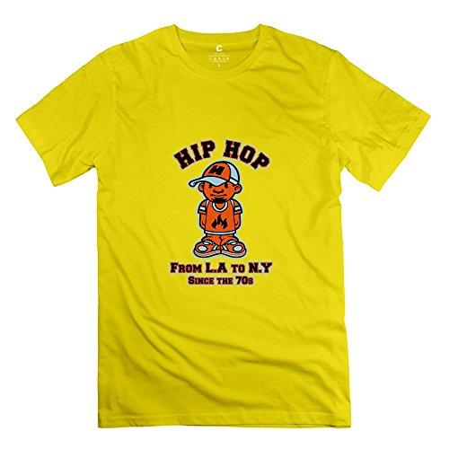 Juj Tribute Hip Hop Mens Cotton T Shirts Yellow Small