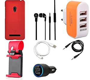 NIROSHA Cover Case Car Charger Headphone USB Cable Mobile Holder Charger for ASUS Zenfone 6 - Combo