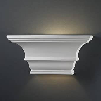 Justice Design CER-9825-BIS, Ambiance Ceramic Wall Sconce Lighting, 1 Light, 60 Watts, Bisque