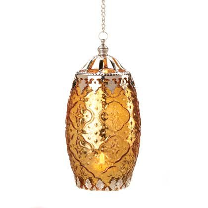 Amber Filigree Candle Lantern