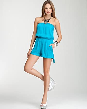 bebe | Blue Karina Smock Romper - PETITES