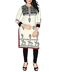 Trendistan Women's Cotton Straight Kurti(bb4l_Beige_L)