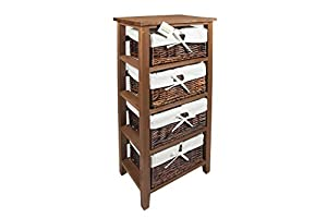 wooden storage cabinet with wicker drawers baskets bedroom bathroom
