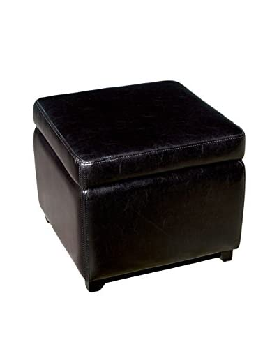 Baxton Studio Leather Square Storage Ottoman, Black