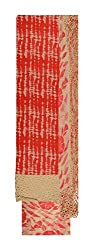 Mayura Women's Cotton Unstitched Salwar Suit (Red and Beige)