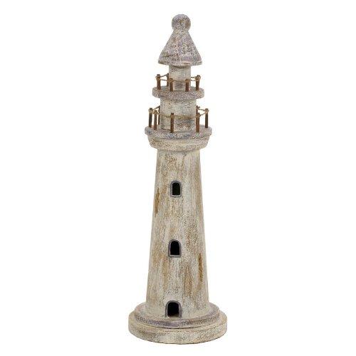 Salco Deko-Leuchtturm, weiß gekälkt, 16 x 52 cm