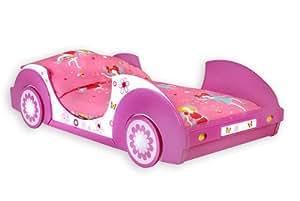 Lit pour fille enfant rose fleurs Chambre Lit Fille avec sommier à lattes inclus 90x200cm