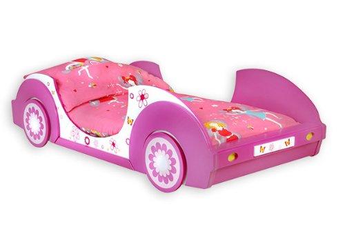 Traumhaftes-Autobett-BUTTERFLY-Kinderbett-BETT-pinkrosaweiss