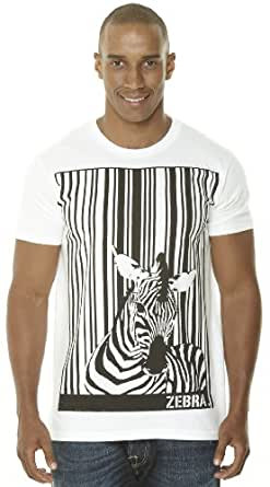 Retreez Funky Zebra Barcode Graphic Printed Men's T-shirt - White - X-Large