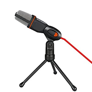 VAlinks® 3.5mm Plug Professional Condenser Sound Microphone With Stand and Clip for PC Laptop Skype Facetime Youtube Chatting Recording Singing on Internet or Karaoke