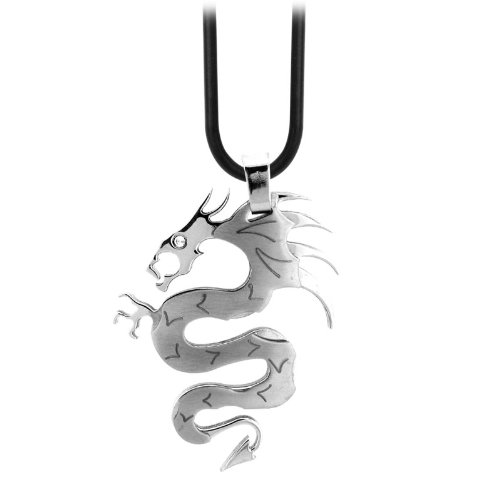 Inox Jewelry Pendants 316L Stainless Steel, Cubic Zirconia Dragons (Pendant Only)