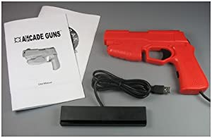 Starter Arcade Guns PC Light Gun Kit (Red) - [Black Buttons/Trigger] by Harbo Entertainment LLC