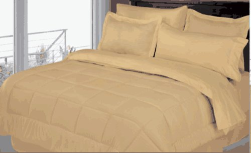 8 Piece Comforter Dobby Striped Bed In A Bag Set Queen/King (Gold, Queen)