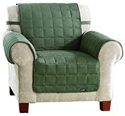 Sure Fit 1 Piece Quilted Sofa Suede Waterproof Pet Cover Chair, Loden