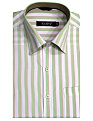 ARANY'S Premium White With Green & Beige Stripes Slim Fit Formal Shirt For Men - F7407, SIZE-36