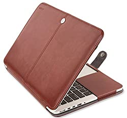 Mosiso - Premium Quality PU Leather Book Cover Clip On Case for Apple 13 inch MacBook Pro with Retina Display (No CD-Rom Drive), Brown