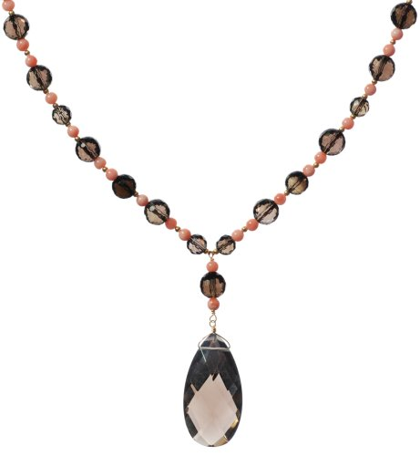 Gold-Filled Natural Pink Coral and Smoky-Quartz Necklace, 17