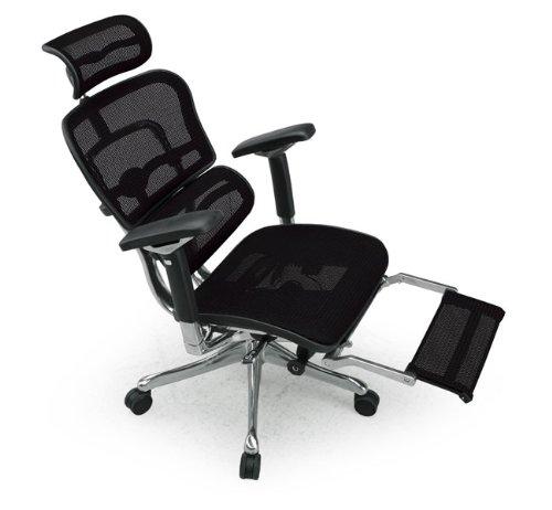 Ergohuman オフィスチェア プロ ヘッドレスト付き オットマン内蔵 EHP-LPL BK(KM-11)