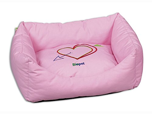 DOG BED AND RECTANGULAR CAT SOFT. COLOUR PINK. SIZE 48X40X22