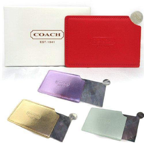 COACH コーチ ハンドミラー 鏡 ケース付き ミラー レッド 並行輸入品 AMI265-RED